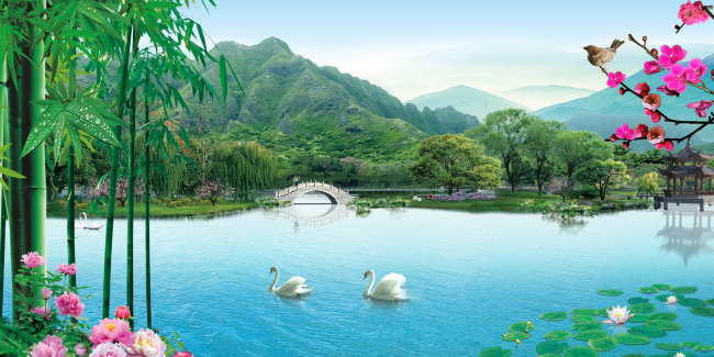 归湖竹洲岛风景图片