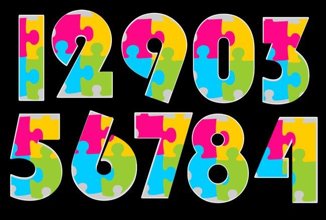 彩色拼图数字模板下载图片