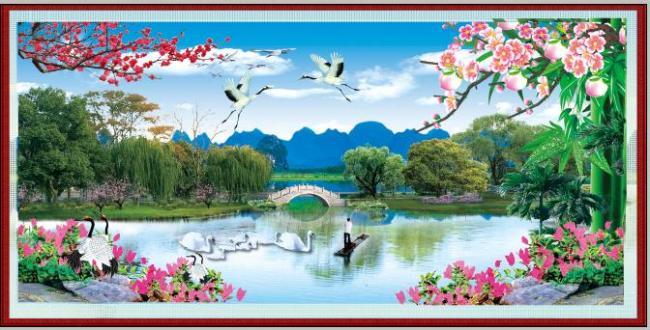 树石头手绘风景画