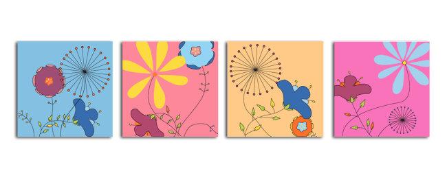 ai 酒店 卡通 剪影 简单花 花朵 抽象花 抽象画 儿童 矢量装饰画 简