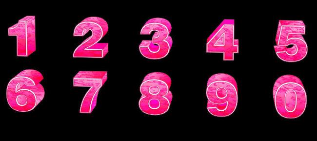 粉红立体阿拉伯数字[矢量]图片