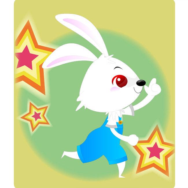 小白兔奔跑卡通图片