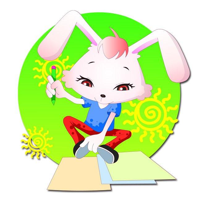 兔年生肖 可爱卡通形象 图图3号 兔生肖之学生系列 小动物 顽皮 写字