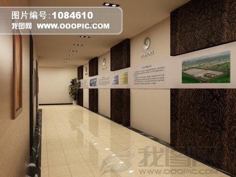 公司企业前台走廊形象墙效果图模板下载(图片编号:)