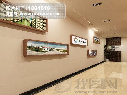 公司企业前台走廊形象墙效果图
