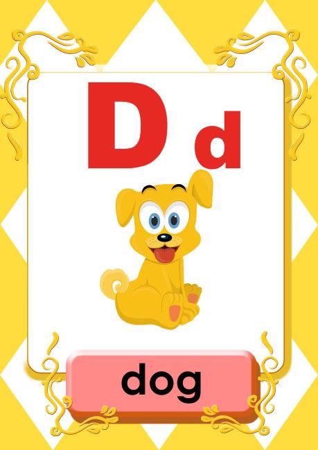 26字母 卡通插画 卡通狗图片