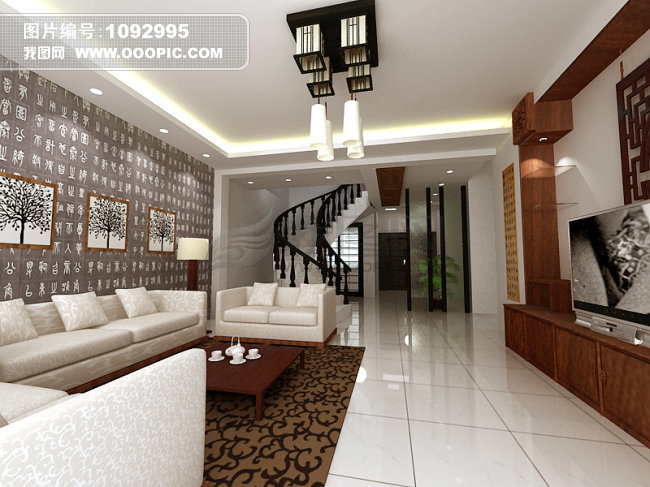 中式客厅装修设计 楼梯