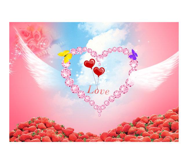 14情人节图片下载   14情人节 情人节 心 love 翅膀 玫瑰 草莓 节日图片