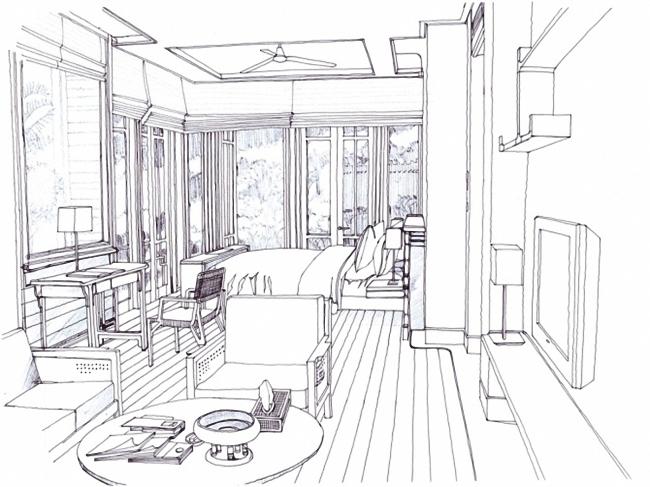 室内走道速写手绘