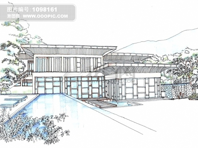 别墅素描设计图片素材 1098161 时尚插画图片库