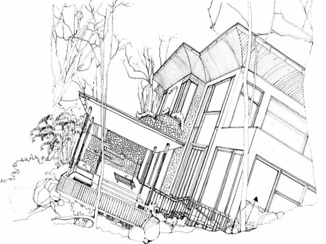 建筑别墅线稿手绘