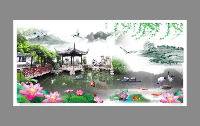 山水风景画图片下载 山水画 山水风景画 园林 仙鹤 荷花 蜻蜓 亭子 竹