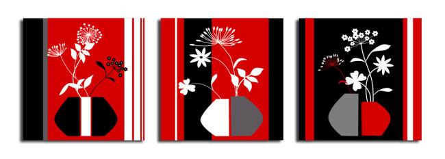 矢量无框画 (艺术花瓶)图片下载 无框画 花 叶子 花纹 绘画 艺术 画