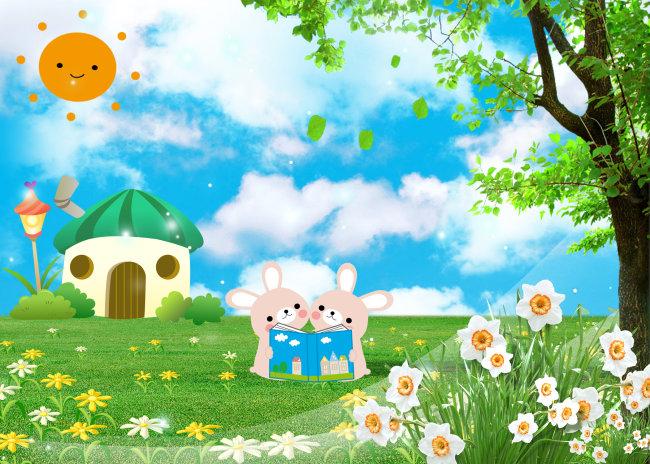小白兔 蘑菇卡通