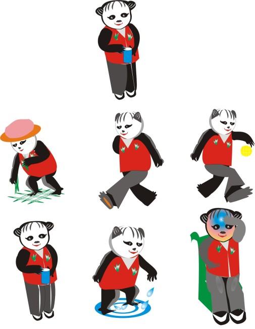 动感熊猫模板下载 1115614 商业插画 卡通高清图片