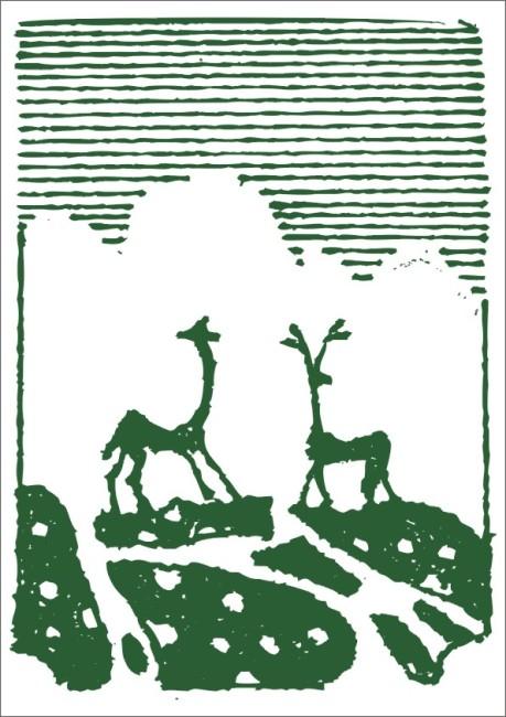 草地梅花鹿-插画|元素|卡通-其他; 绿草 素材 白描画 素描画 手绘