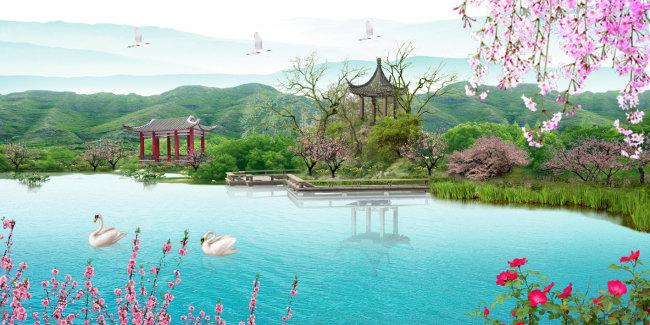 园林风景PSD分层模板模板下载 1118583 山水风景画 背景墙