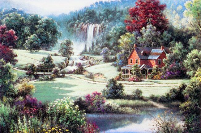 唯美手绘溪流风景