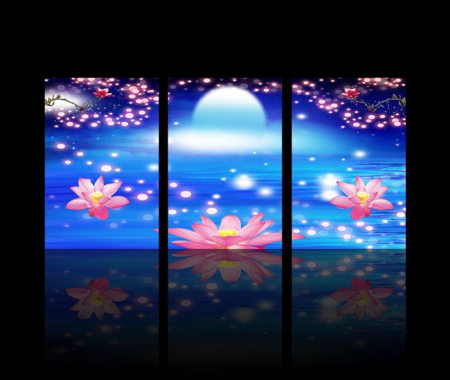 背景墙|装饰画 无框画 植物花卉无框画 > 蓝色炫彩荷花无框装饰画  下