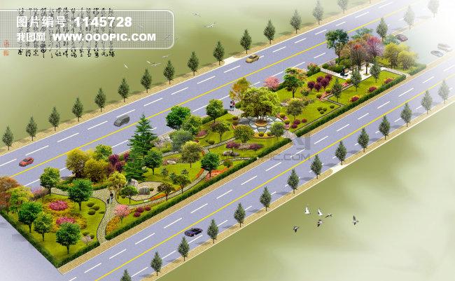 马路景观效果图