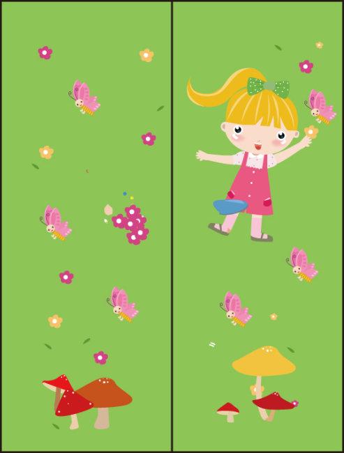 可爱卡通小蘑菇小花小草 小人 卡通人物 绿色 移门 双门图 两门 卡通