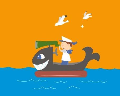 平面设计 其他 插画|元素|卡通 > 儿童孩子矢量小孩船划船  下一张&
