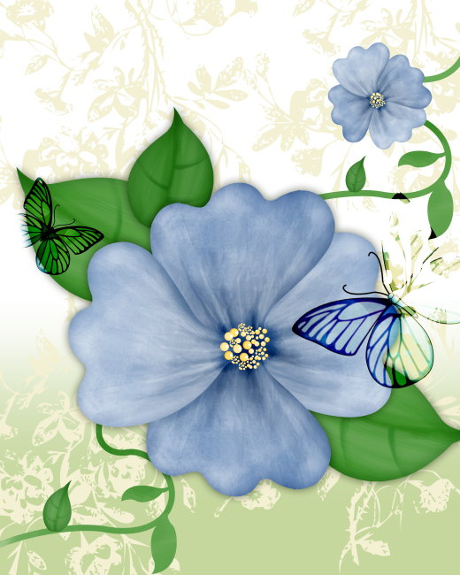 花纹素材 花素材 蓝色花 浅绿色 背景图片 墙画 无框画 墙画 蝴蝶