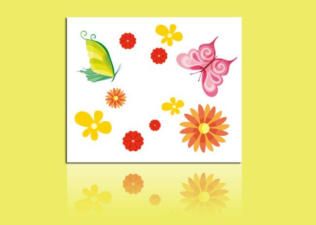 背景墙|装饰画 无框画 植物花卉无框画 > 漂亮花朵蝴蝶无框画装饰画
