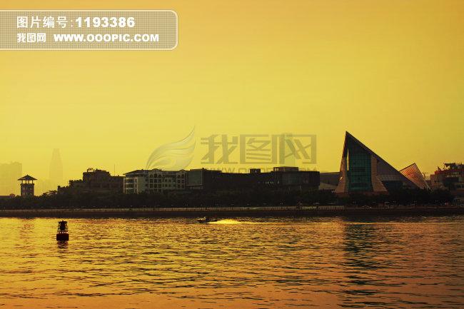 二沙岛的黄昏图片下载 二沙岛 黄昏 日落 傍晚 金黄 金色 珠江 星海音