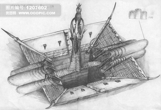 游戏建筑设计 绘画 铅笔画图片