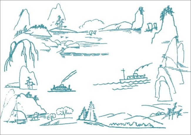 卡通帆船 色简笔画