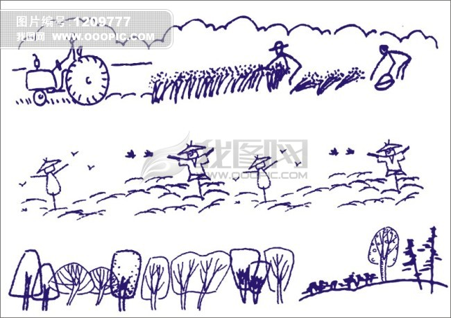 工笔画 简笔画 简写画 手绘画 树木 树林 庄嫁 禾 田 收割 收获 丰收