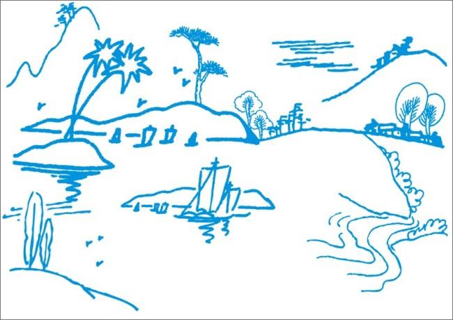 高山流水小船-手绘画