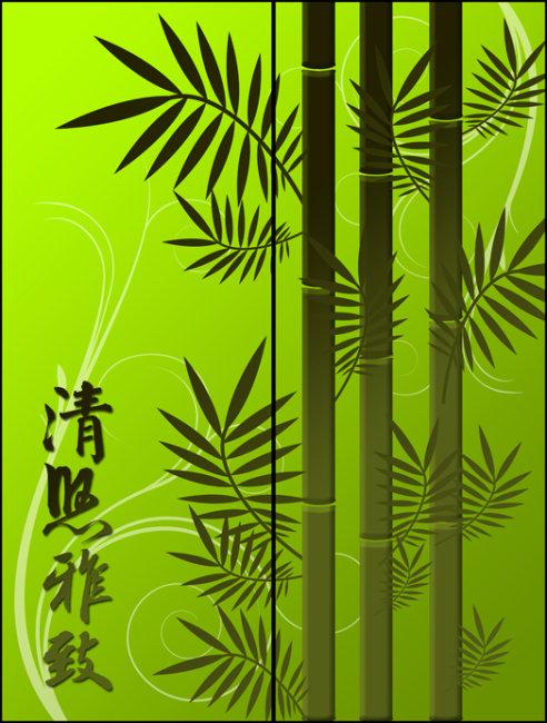 图案 玻璃/[版权图片]竹子玻璃移门图案PSD下载