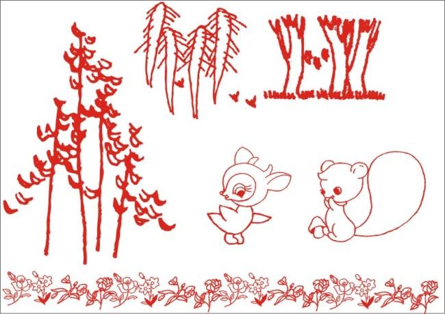 动物形象 花叶 叶子 小草 草地 树下 可爱动物 森林小动物 可爱松鼠