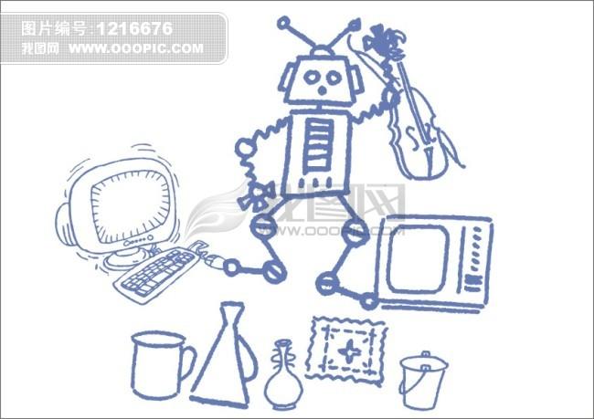 电脑机器人-手绘画图片下载