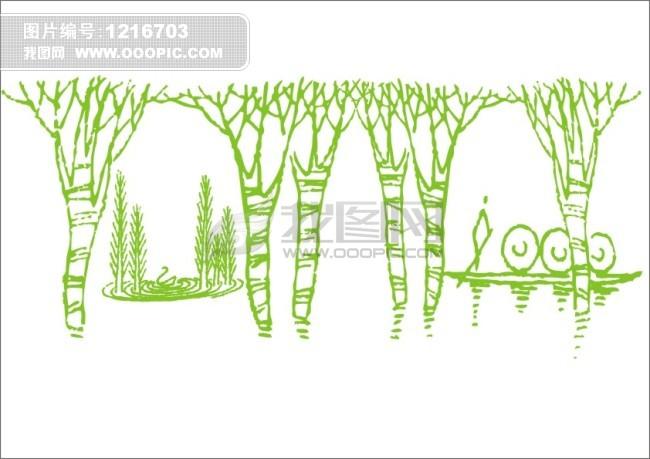 河中树-手绘画