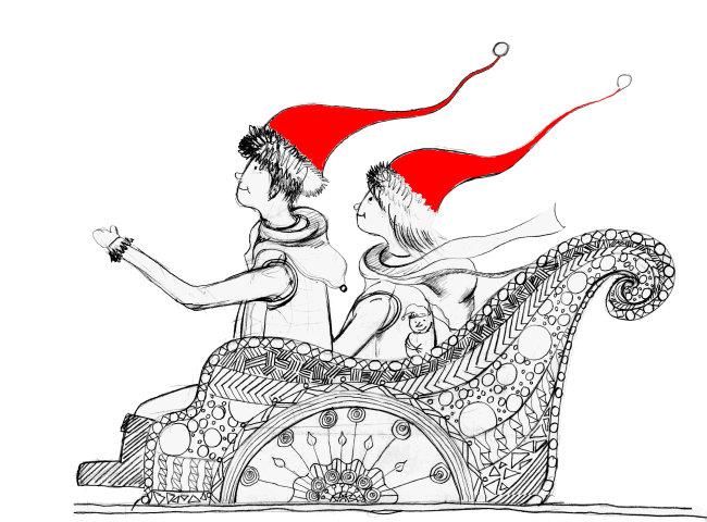 原创手绘 圣诞 插画