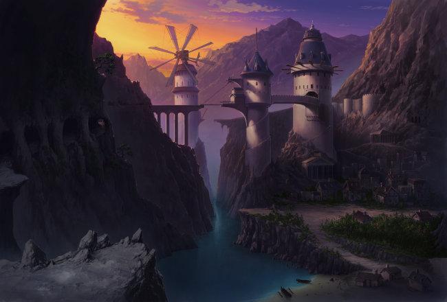 游戏城堡插画手绘
