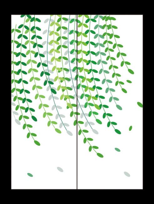 卡通房前柳树