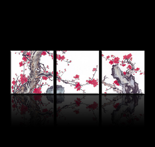 无框画效果 无框画素材 手绘梅花 绘画花朵花开富贵 花朵 红花 花叶