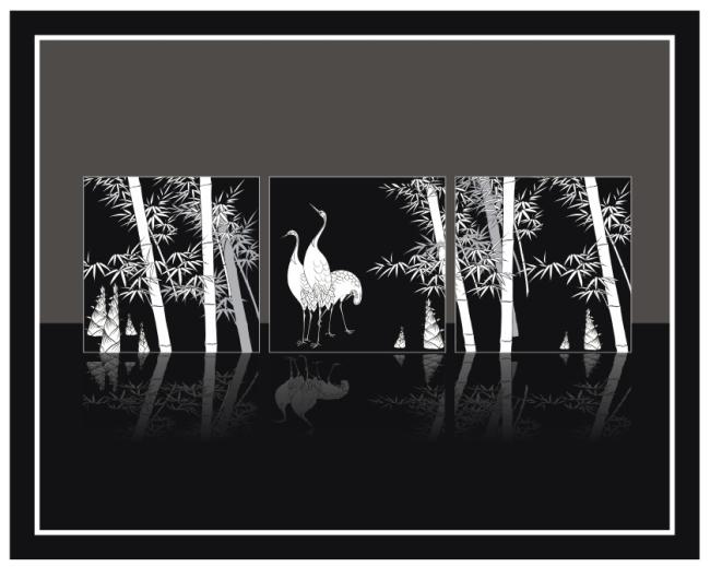 鹤黑白手绘