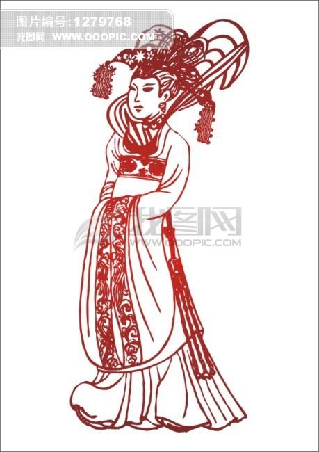 古典美女手绘素描简笔画