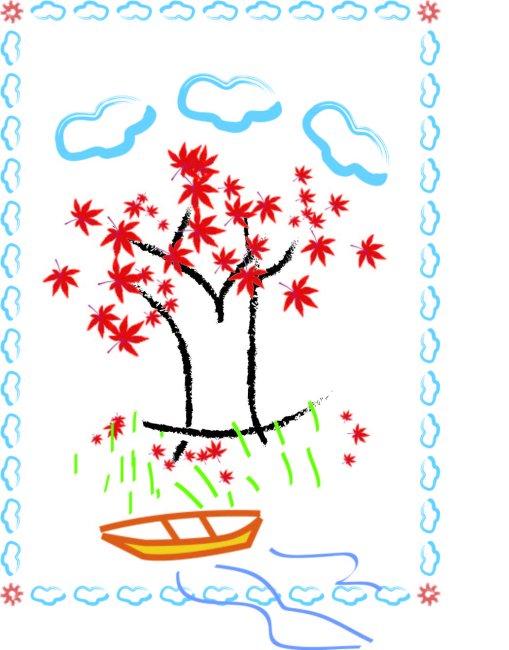 用枫叶做粘贴画