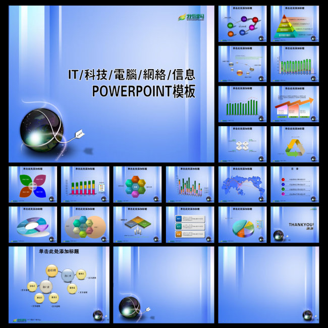 电脑科技网络ppt模板免费下载