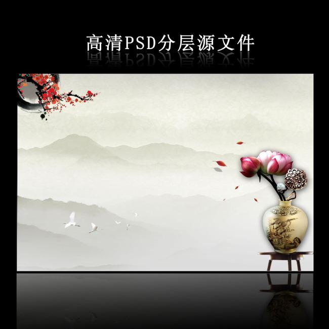 背景 模板/[版权图片]大气中国风海报背景PSD模板下载