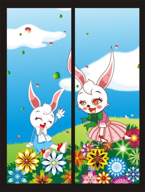 2012最新移门 简约移门 中国风 山水画 山水移门 水墨画 水彩画 兔子