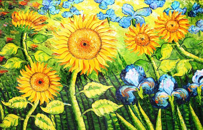 手绘向日葵风景