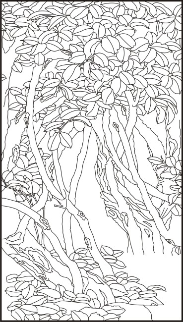 树叶服装手绘画