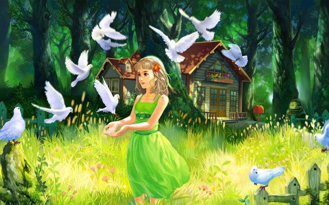 油画图片下载树林里的童话女孩